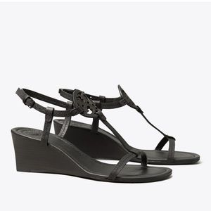Tory Burch Miller Black Leather Wedge Sandals 9.5